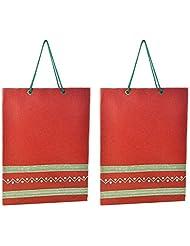 Richa Kriti Handmade Paper Reusable Shopper Bag (Red)
