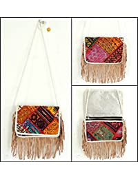 Megh Craft Women's Vintage Patchwork Clutch Purse - Fringe Style Party Hand Clutch Purse