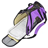 TravelDog Pet Carrier Mesh Ventilation - Soft Washable Fleece Bed - Cat or Dog Tote Travel Bag - Large (Purple)