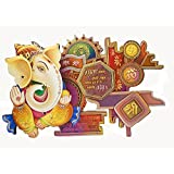 Lord Ganesha Wall Hanging Decoration Frame Wooden Handmade Hindu God Ganesh Painted Wall Hanging Home Decorative