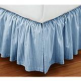 Super Soft Stripe Blue Queen Size Ruffle Bed Skirt 100% Cotton