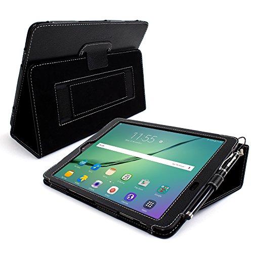 Snugg Étui & # 8482; Galaxy Tab-Smart Cover Étui à rabat avec support et garantie à vie (en cuir) pour Samsung Galaxy Tab Tab S2 9.7 noir