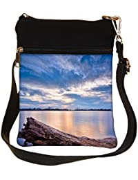 Snoogg Sea And Broken Wood Cross Body Tote Bag / Shoulder Sling Carry Bag