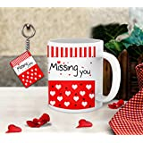 TIED RIBBONS Missing You Printed Coffee Mug(325 Ml) And Keychain