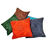 Ufc Mart Hand Embroidered Cotton Cushion Cover 5pc. Set, Color: Multi-Color, #Ufc00456