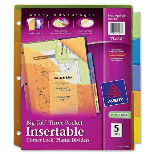 Insertable Three-Pocket Divider with Corner Lock, 11x8-1/2,