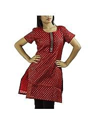 Fashion Freaks Red Cotton Printed Sqaure Neck Kurti - B00R7O8FQI