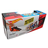 Mattel Hot Wheels - Hyper Wheels Motorized Motorcycles (Orange & Red Helmet) and Crank Launcher Ramp for Side-By-Side Motorcycle Racing Action