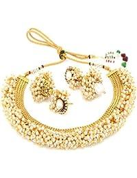 Bollywood Designer Ethnic Premium Gold Plated Wedding /Festive Pearl Beaded Necklace Set