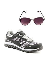 Elligator 1504 Metro Stylish Gray &White Sport Shoes With Aviator Sunglass For Men's