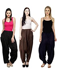 Fashion Store Combo Of Black::Brown::Navy Blue 3 Womens Solid Cotton Ethnic Punjabi Patiala Salwar Bottom Pant