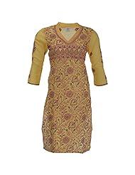 Go Lucknow Women's Cotton Regular Fit Kurta (GL-AM-148, Yellow, Small)