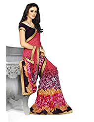 AG Lifestyle Peach Georgette Saree With Unstitched Blouse SNS227A