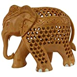 THE D.N.A GROUP Wooden Elephant Statue -(18 CMs X 7 CMs X 13 CMs, Brown)