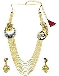 Zaveri Pearls Temple & Peacock Broach Haram Necklace Set - ZPFK5239