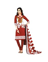 Siddhi Cotton Red & White Printed Salwar Suit & Dupatta Material