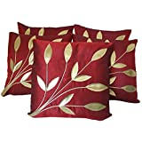 Hargunz Leaf Design Cushion Covers Set Of 5-Red(cus-red-patti)
