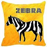 Leaf Designs Yellow And Black Zebra Cushion Cover