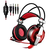 PS4 Computer Gaming Headset KOTION EACH 3.5mm Game Headphone Headband With Mic Stereo Bass LED Lighting For PlayStation4...