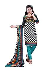 Prafful Black-White Beautiful Cotton Printed Unstitched Salwar Suit