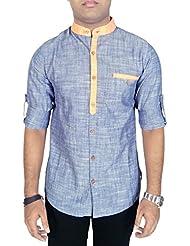 Kuons Avenue Mens Light Blue Linen Cotton Mandarin Collar Long Sleeve Solid Casual Shirt