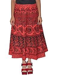 Gurukripa Shopee Women's Cotton Wrap-around Skirt (Red) - B01I1DAWDM