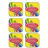 MeSleep Happy Raksha Bandhan Wooden Coaster-Set Of 6 - B013LETRU0