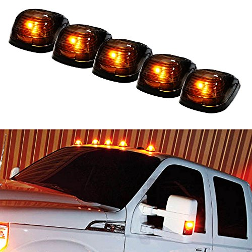 iJDMTOY® 5pcs Black Smoked Cab Roof Top Marker Running Lamps w/ 5-SMD-5050 Amber LED Lights For Truck 4×4 SUV