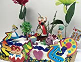 Alice in Wonderland Birthday Cake Topper Set Featuring Various Alice in Wonderland Decorative Themed Elements, Alice, Mad Hatter, Cheshire Cat, Queen of Hearts, White Rabbit, and Tweedledee and Tweedledum Cake Topper Figures