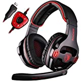 SADES SA-903 Stereo 7.1 Surround Professional USB PC Gaming Headset With Mic Remoter Black Red