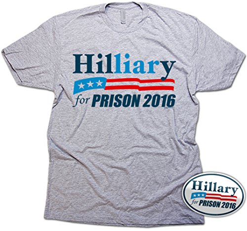 Trump and Clinton Halloween Costumes - Choose Edgy or Funny - Vipergraphics Hillary for Prison T-Shirt & Sticker Men's Clinton Liar TShirt (Heather)