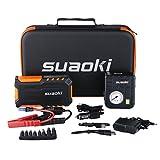 Suaoki G7 Plus - Jump Starter de 18000mAh, Pack de arrancador de coche 600A (Multifuncion de linterna LED, cargador de bateria externa, 80 PSI mini bomba compresor de aire), Naranja