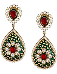 The Jewelbox 22K Gold Plated Dark Green Maroon Meenakari Pearl Dangling Earring For Women