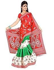 Shivam Sarees Bhagalpuri Silk Red Abstract Printed Saree