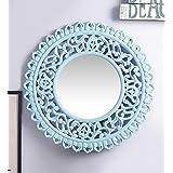 MDF Round Wall Decorative Mirror Frame Sky Blue By Artesia