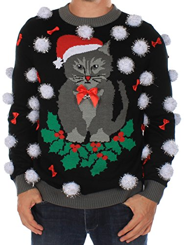 Men's Ugly Christmas Sweater - Cat Sweater with Bells by Tipsy Elves