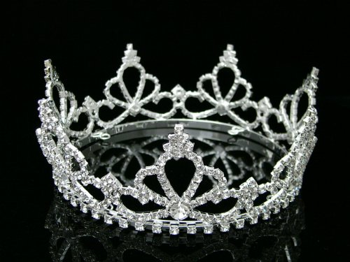 Pageant Rhinestone Crystal Beauty ContesContest Bridal Wedding Full Tiara Crown