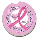 CounterArt Absorbent Stoneware Car Coaster, Pink Ribbon