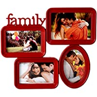Priya Collections Glass 3-in-1 Collage Photo Frame With Frame (39 Cm X 33 Cm X 3 Cm, Red)