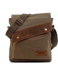 Imported Men's Vintage Canvas Messenger Bag Buckled Shoulder Satchel Bag Khaki