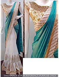 Taadrashya Women's Half And Half Georgette Saree With Embroidery And Lace Border
