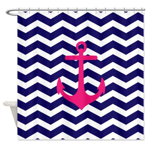 Hot pink anchor blue chevron Shower Curtain