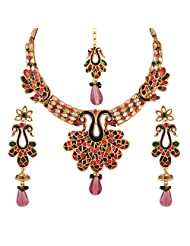 Variation Mayur Kundan Jewelry Set With Pair Of Earrings And Mangtika For Women