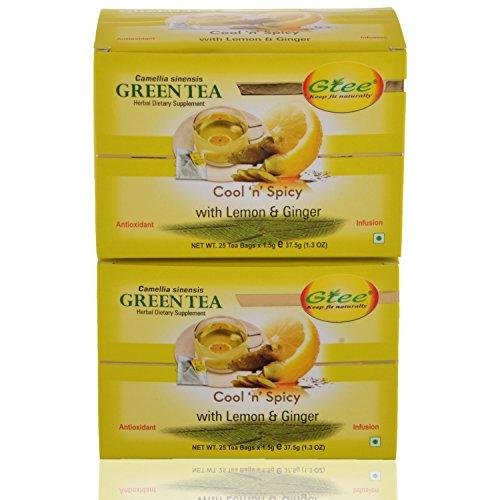 GTEE Green Tea Bags - Lemon & Ginger (25 Tea Bags X 2PACKS)