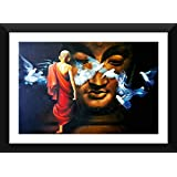 Tallenge - Acrylic Painting - Buddha And The Boy Monk - Ready To Hang Framed A3 Size Poster (12x17 Inches)