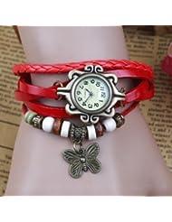 GT Gala Time Vintage Retro Beaded Bracelet Style Women Red Leather Wrist Butterfly Watch