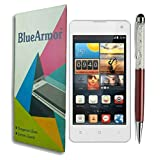 BlueArmor HD Clear Tempered Glass Screen Guard Protector For Intex Aqua Active & Solitaire Crystals Touch Stylus