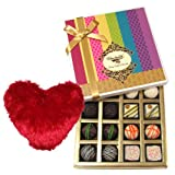Ultimate Dessert Of White And Dark Chocolate Box With Heart Pillow - Chocholik Belgium Chocolates