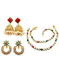 9blings Traditional Wear Pearl Cz Ruby Emerald Kundan Multi-colour Anklet Gold Plated N66