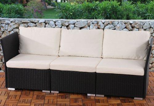 3er Sofa 3-Sitzer Siena Poly-Rattan, Gastronomie-Qualität ~ anthrazit mit Kissen in creme